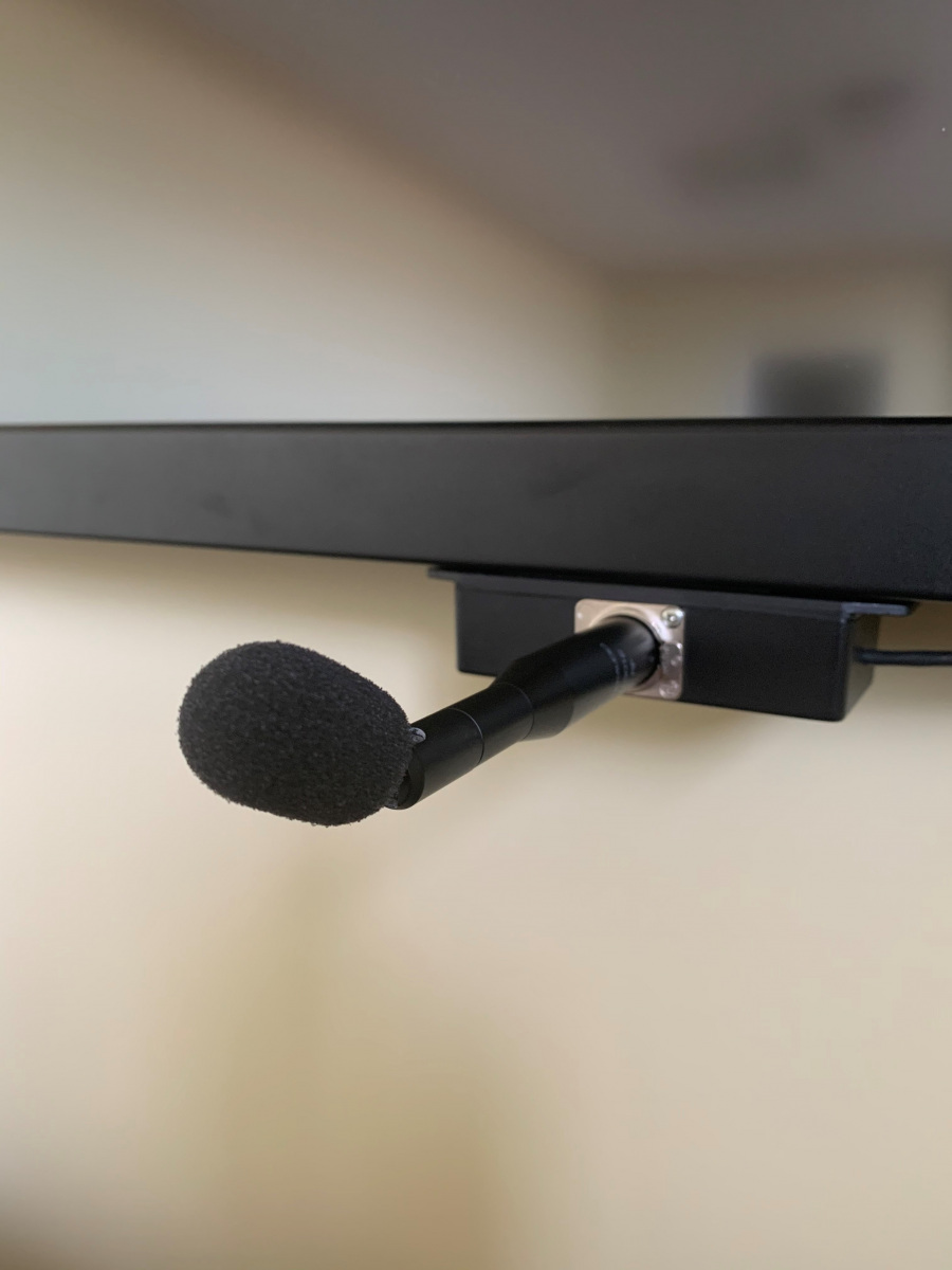 Microphone Mounted on Bottom of Monitor
