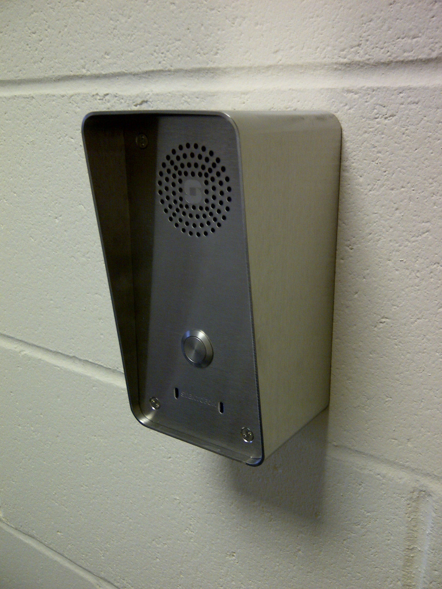 SIP Single Call Button Station Mounted in Hooded Surface Back Box